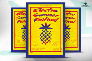 Electro Summer Festival Flyer PSD by GraphicDiamonds