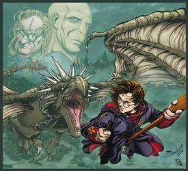 Harry Potter VS the Horntail by JoniGodoy