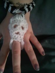 Skull and stripes crochet bracelet/ring by PlusOneCharisma