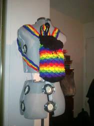 Custom Crochet Rainbow Crocodile Stitch Backpack by PlusOneCharisma