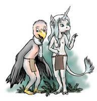 Bird and unicorn by Pedantia