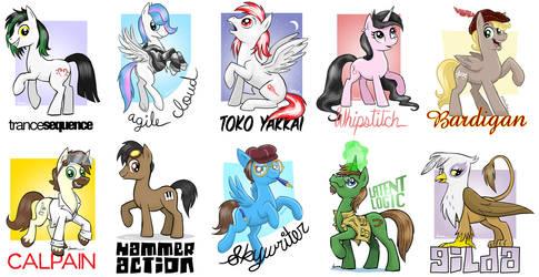 Some pony badges by Pedantia