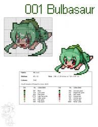 #001 Bulbasaur Moemon Cross Stitch Pattern by zombiefriedchicken
