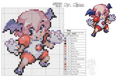 Mr. Mime Moemon Cross Stitch by zombiefriedchicken