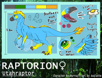 [Commission] Raptorion Reference Sheet by MrAxolatte