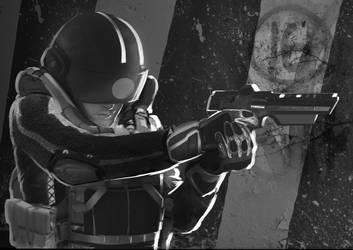Turning Point, Vonner with Gun by jamggurogi