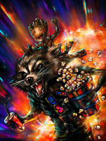 Rocket Raccoon and Groot_Let's go to the cinema by DZIU09