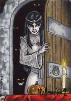 Vampyre's Bride Sketch Card - Hallowe'en 2 by tonyperna
