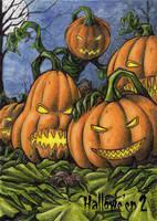 Jack-o-lanterns Sketch Card - Hallowe'en 2 by tonyperna