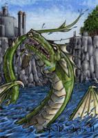 Water Dragon Sketch Card - Spellcasters II by tonyperna
