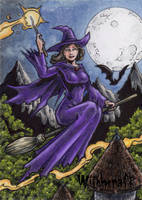 Witch Sketch Card 1 - Hallowe'en: Witchcraft by tonyperna