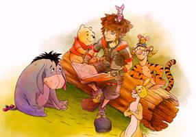 Sora and Pooh by makemyhomework