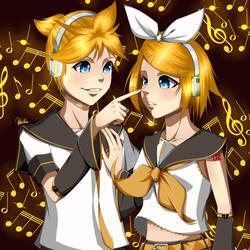 Kagamine Rin and Len (Vocaloids) by Ahkhai1999