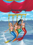 Commission - Parasailing mermaids by Otocai