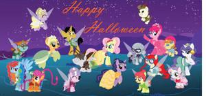 Group Pony Halloween by kimomo