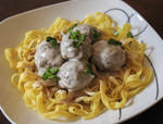Swedish Meatballs Served Over Egg Noodles by Kitteh-Pawz