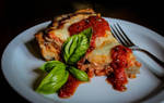 Deep Dish Eggplant Parmesan Pizza by Kitteh-Pawz