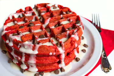 Red Velvet Waffles by Kitteh-Pawz
