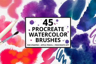 45 Procreate Watercolor Brushes by symufa