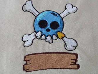 Tete de mort et planche en bois by Kavel-WB
