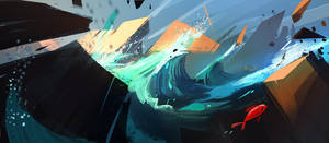 'Glowing waves' Spitpaint by VincentBisschop