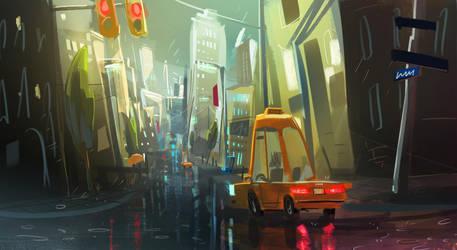 Rainy city speedpaint by VincentBisschop