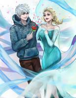 Jack Frost x Elsa (Valentine's Day) by HEERA-art