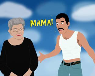 Freddie Mercury reunited with Mama Jer Bulsara by AndrewSS23