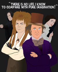 Jareth, Wonka, Snape, and Leia - Pure Imagination! by AndrewSS23