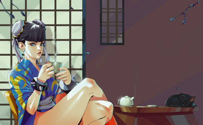 Chun li Arcade Stick Art Commission by SANEFOX