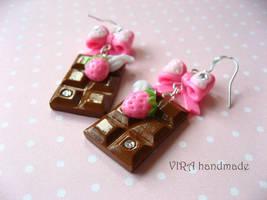 Kawaii chocolate bar earrings by virahandmade