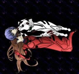 Rei and Asuka colored by KataTonDaimonaEaytoy