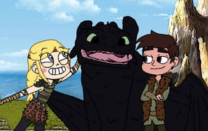 Star and Marco Meet Toothless by FlyingPrincess