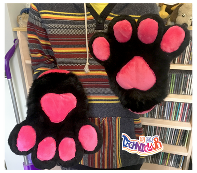 Black Fursuit Handpaws With Hot Pink Pawpads by TECHNlCOLOUR