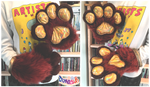 Brown Fursuit Handpaws With Rainbow Gold Pawpads by TECHNlCOLOUR