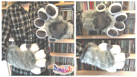 Gray Wolf Feral Fursuit Handpaws With Claws by TECHNlCOLOUR
