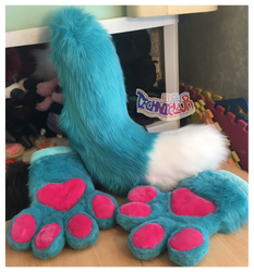 Turquoise Fursuit Handpaws And Tail Set by TECHNlCOLOUR