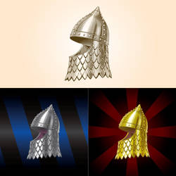Medieval Russian heraldic helmet with aventail by Inshader