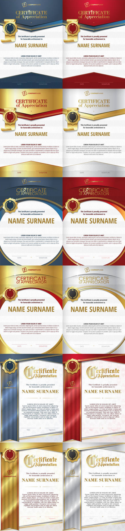 Templates of Certificate of Appreciation. Vector. by Inshader