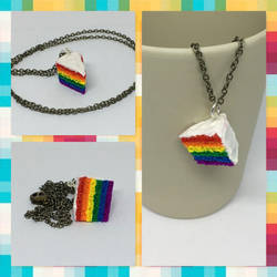 Gay Pride Cake Necklace by okapirose