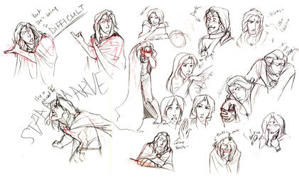 Prince-Beast and Belle doodles by Luna-Kitsune-Blu