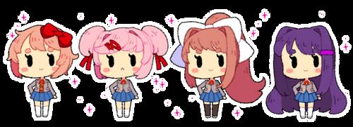 DDLC Bubblegum Page Dolls (F2U) by ScarletDestiney