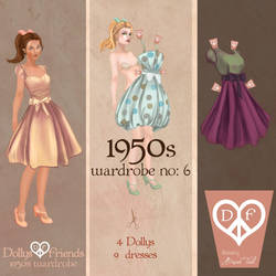 1950s Fashion Paper Dolls Dollys and Friends by BasakTinli
