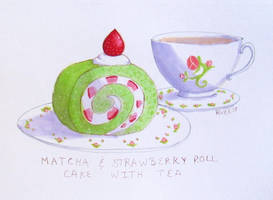 Matcha Roll Cake | Inktober 2018 by RiversReverie