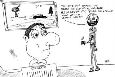 Why Web Servers Crash editorial cartoon by amazingn3ss