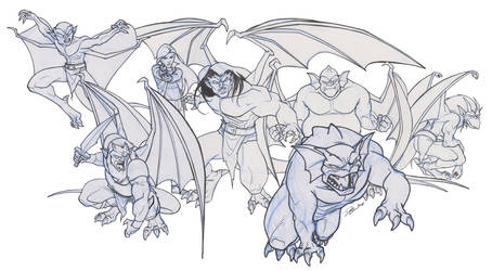 Gargoyles Sketchs by AlexDeB