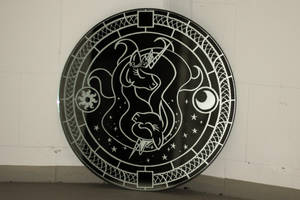 Celestia and Luna mirror engraving by rtry