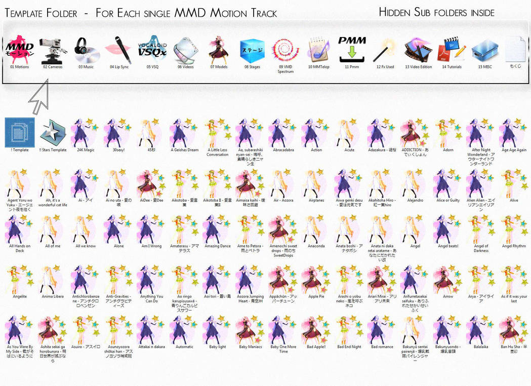MMD Motion folders Template with icons by virtuafashion