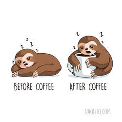 Before After Coffee Sloth by Naolito