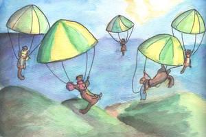 Parachuting Ferrets by Daquira